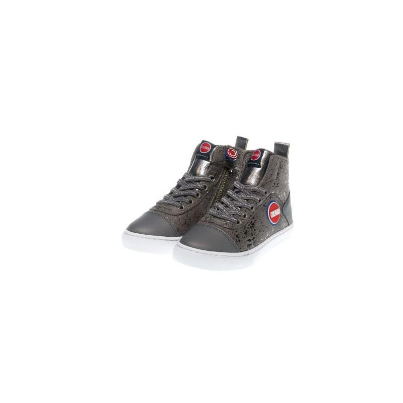 Pantofi sport gri pentru fete cu detalii argintii  12379