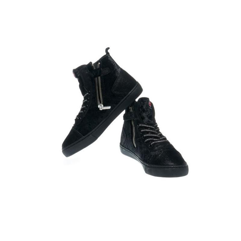 Pantofi sport pentru fete negre cu fermoar și șireturi  12383