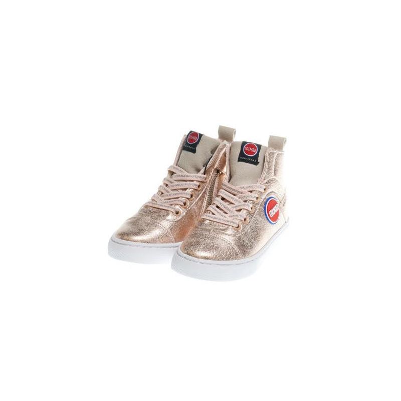 Pantofi sport înalți pentru fete roz cu fermoar și șireturi  12385