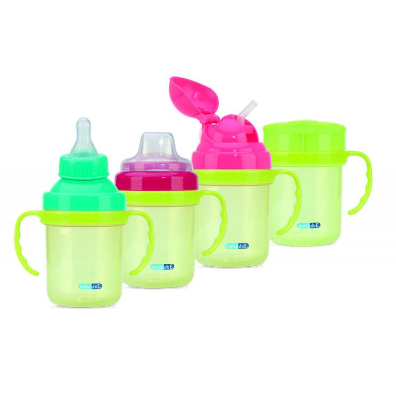 Plastic cană 4 în 1 pentru bebeluși 180 ml, 3+ luni  1253