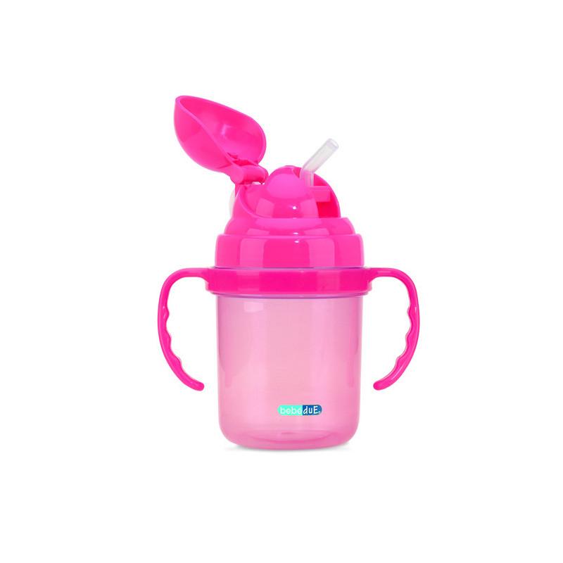 Ceașcă roz cu pai din plastic de 190 ml  1259