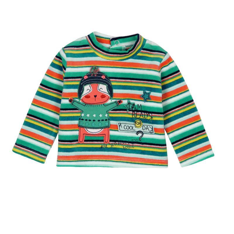 Bluză de pluș cu mânecă lungă, pentru copii, în dungi multicolore  126