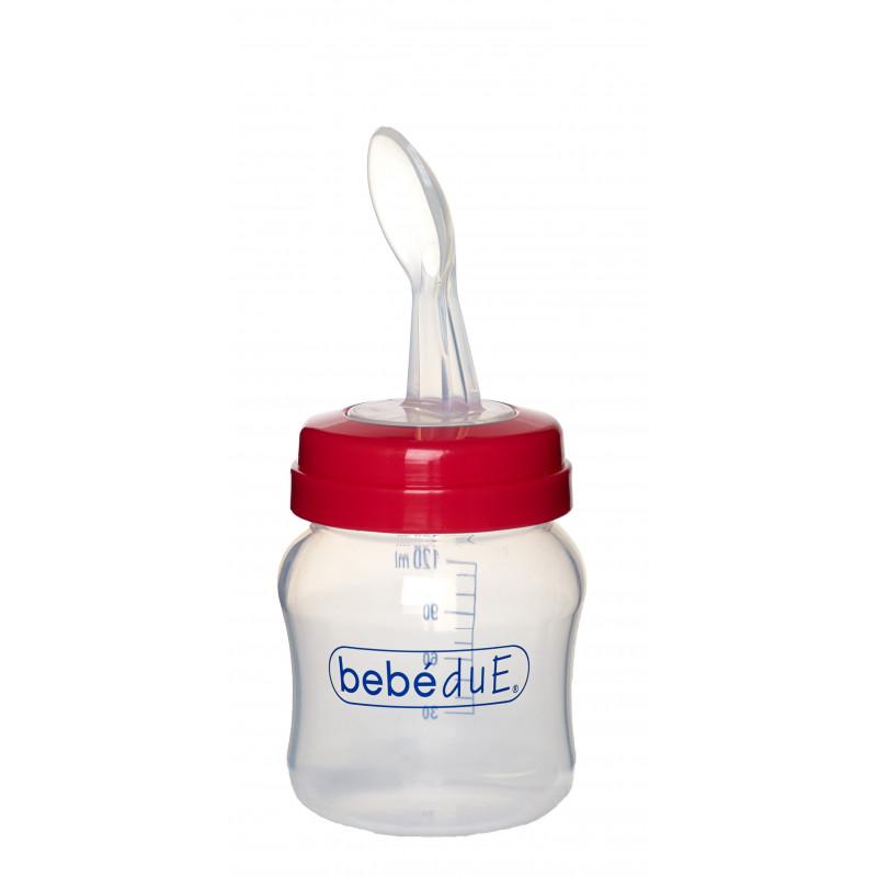 Sticlă pentru copii cu lingură, roșu  1260