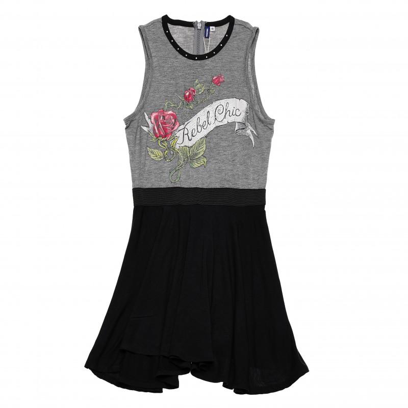 Rochie pentru fete neguru cu gri cu trandafiri  126341