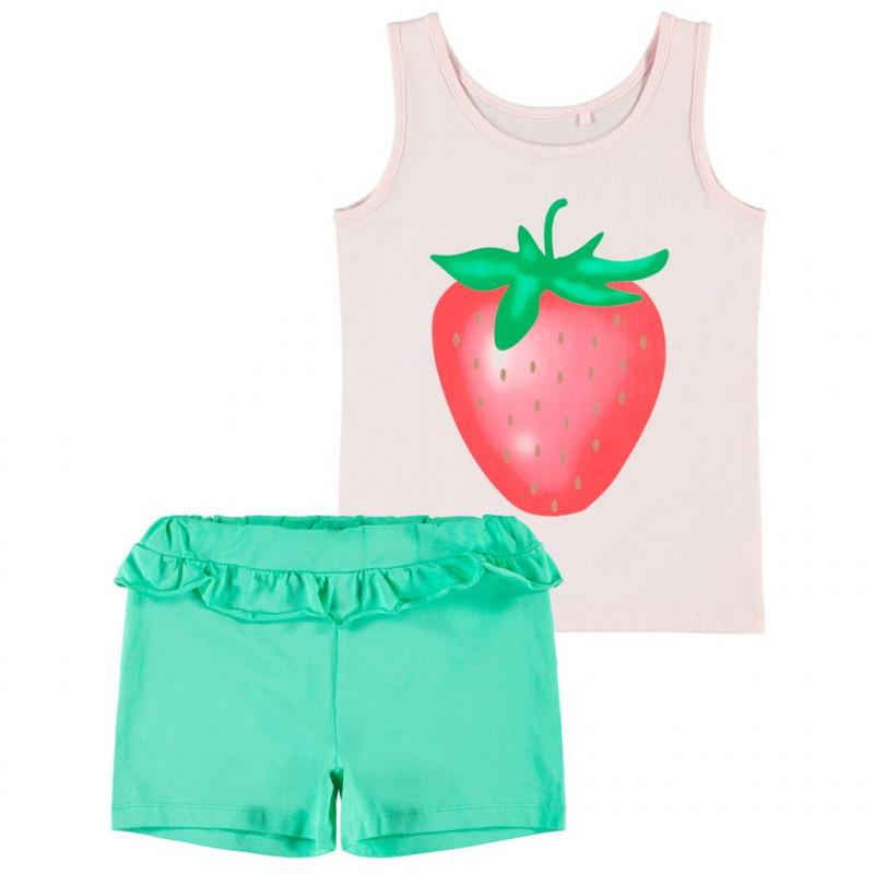 Set din două părți cu un imprimeu de căpșuni pentru o fată în roz și verde  150274