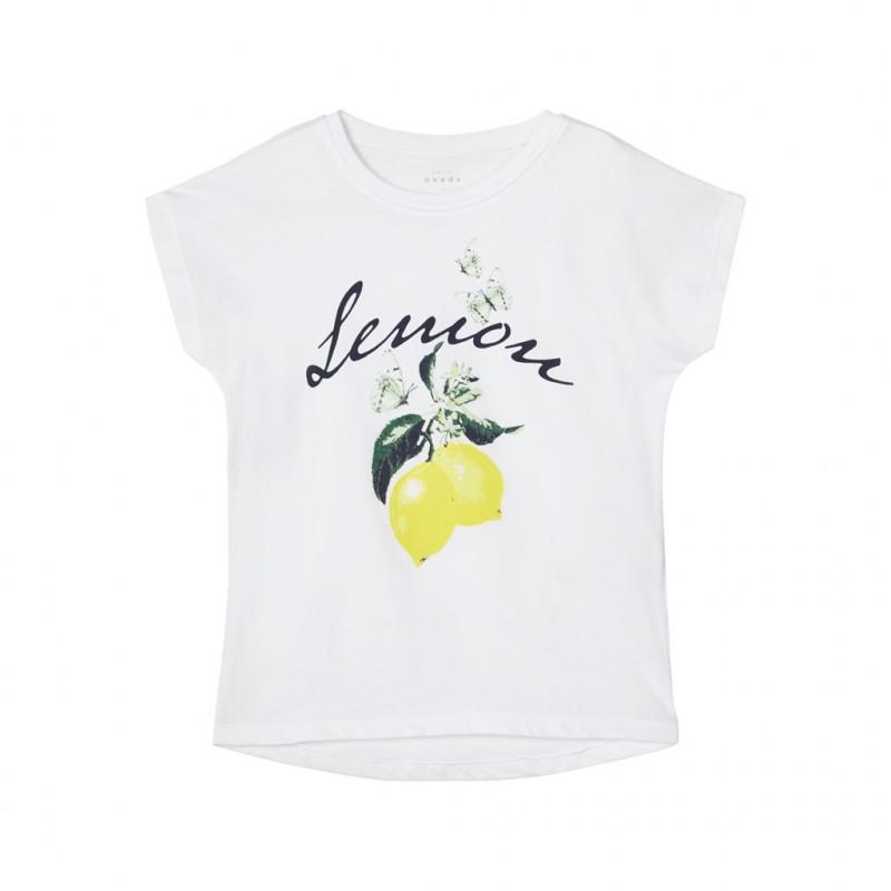 Tricou din bumbac organic, cu imprimeu grafic, pentru fete, alb  150349