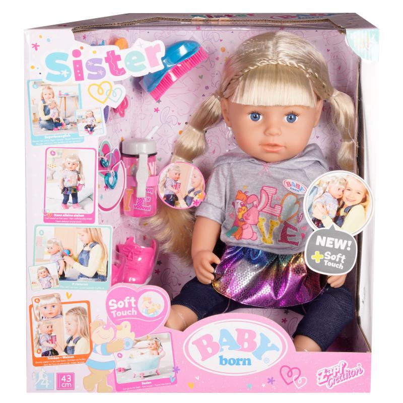 Bebeluș nou născut - păpușă cu părul lung și accesorii  150440