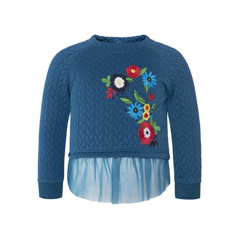 Bluză brodată cu flori, cu tulle  1590