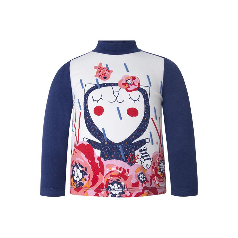 Bluză polo cu mânecă lungă, cu decor vesel pentru fete  1632