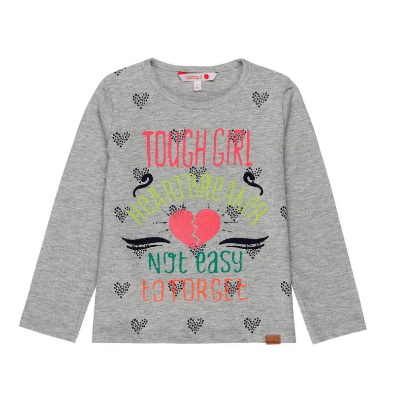 Bluză gri cu mânecă lungă cu imprimeu multicolor pentru fete  16364
