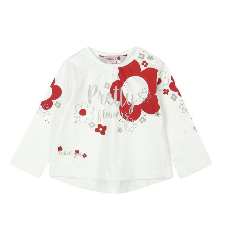 Bluză din bumbac cu imprimeu floral, cu mânecă lungă, pentru fete  169