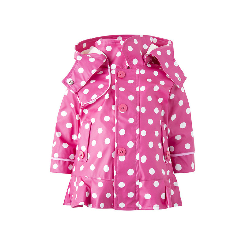 Geacă cu glugă pentru fete, roz cu imprimeu polka dot  1935