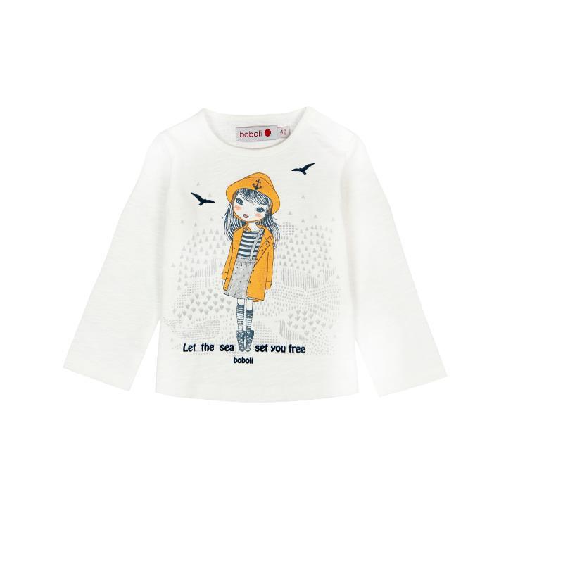 Bluză din bumbac cu mânecă lungă, albă cu imprimeu  207