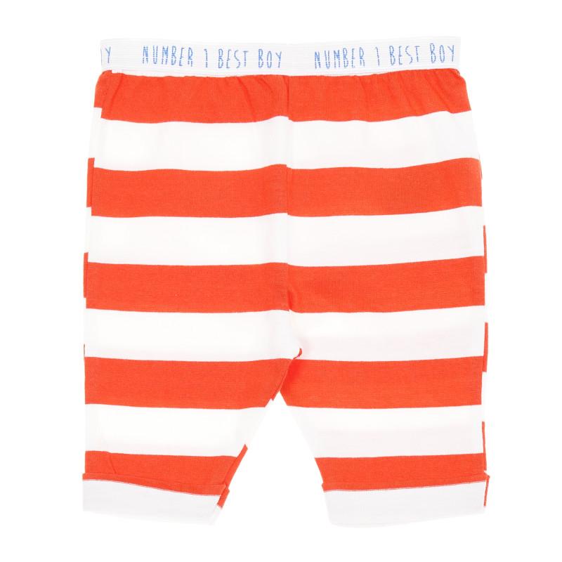 Pantaloni din bumbac, alb cu roșu  207305