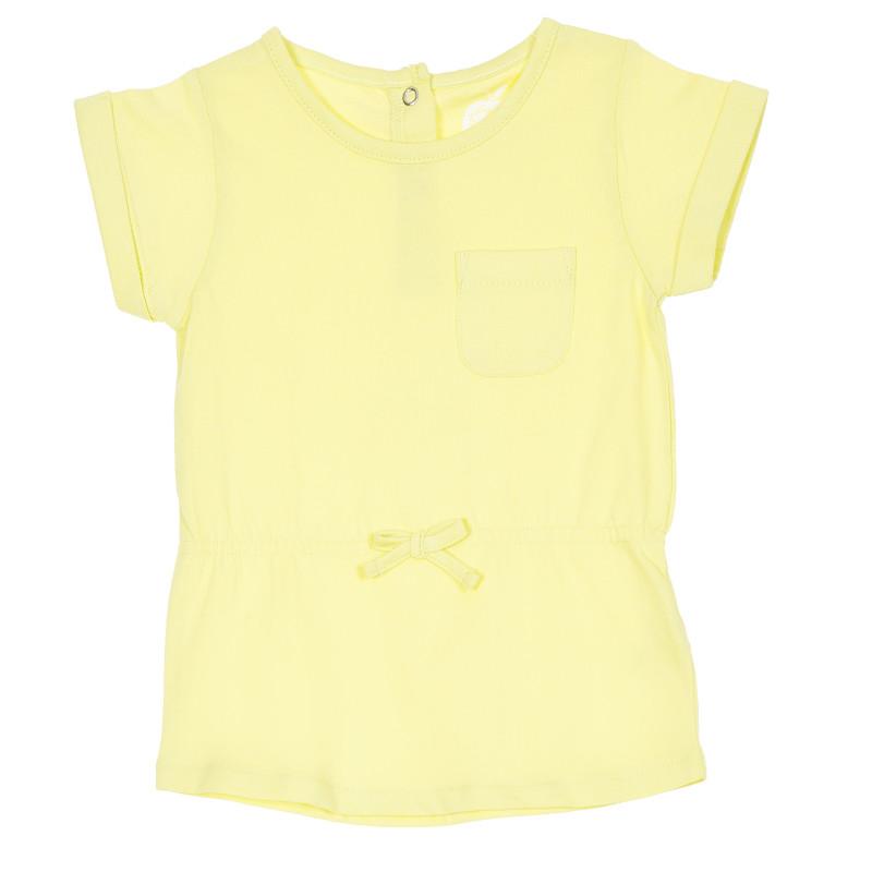 Tunică din bumbac cu mâneci scurte, galbenă  207333