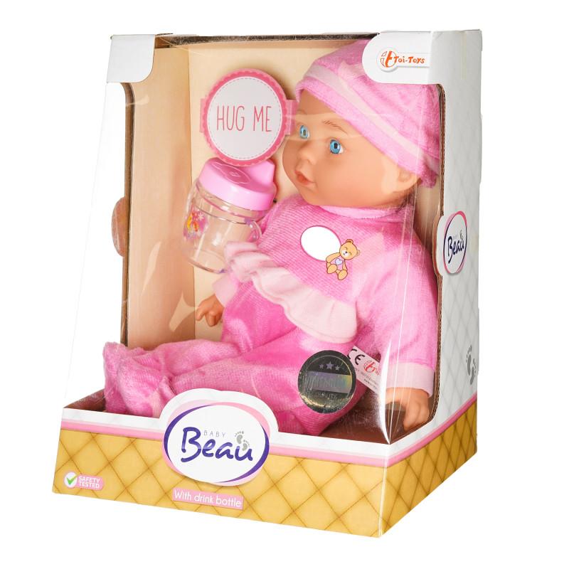 Păpușă Cute Baby cu biberon, albă, 30 cm   207486
