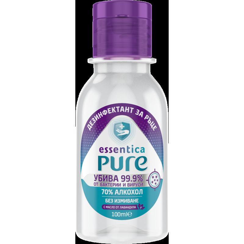 Dezinfectant pentru mâini Essentica Pur, flacon cu dozator, 100 ml  207612