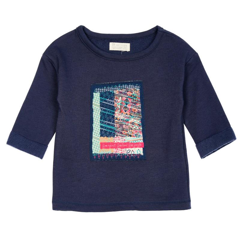 Bluză matlasată cu aplicație, albastră  208388