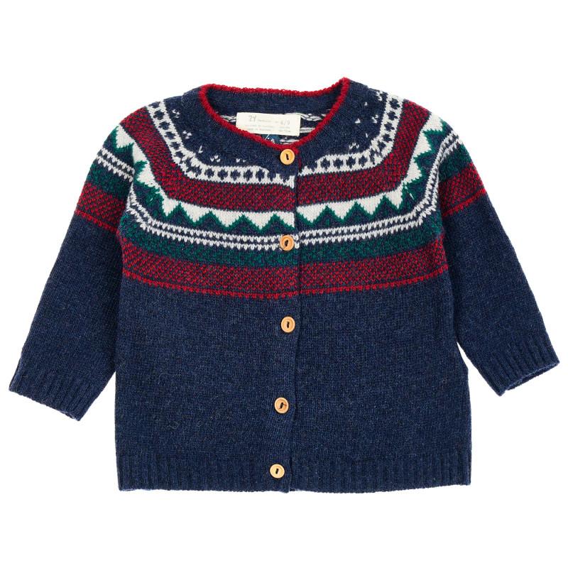 Cardigan tricotat cu model scandinav pentru bebeluși, albastru  208460