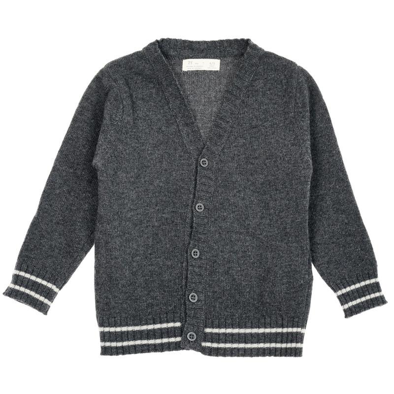 Cardigan lung tricotat, gri  208472