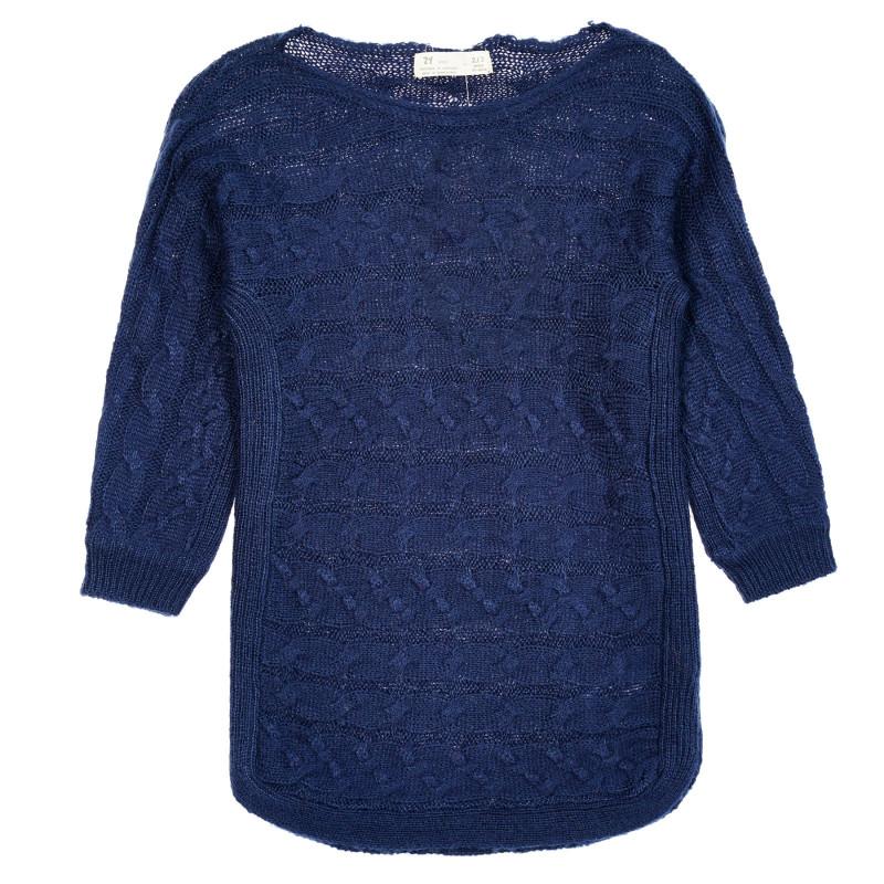 Pulover tricotat, albastru închis  208543