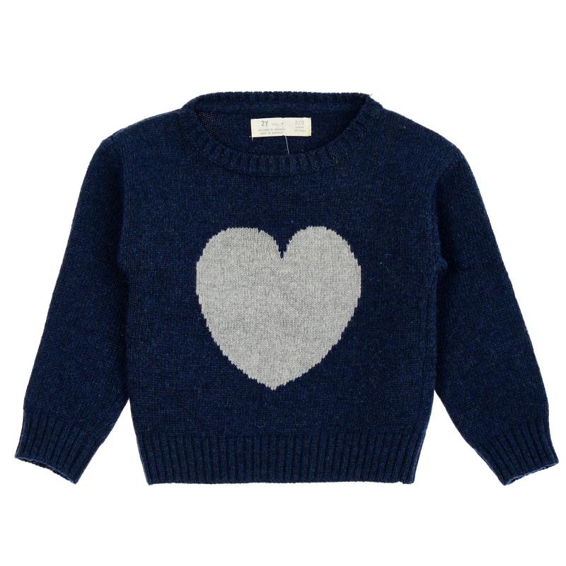 Pulover cu broderie de inimă, albastru închis  208551