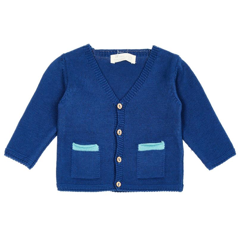 Cardigan cu buzunare pentru copii, albastru  208723
