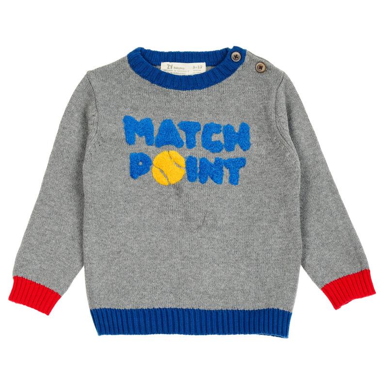 Pulover de bumbac cu inscripția Match point pentru bebeluși  208911