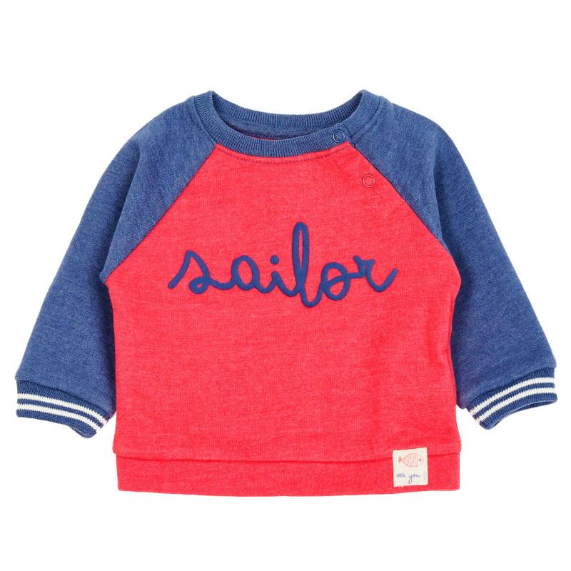 Hanorac cu mâneci albastre pentru bebeluș, roșu  209115
