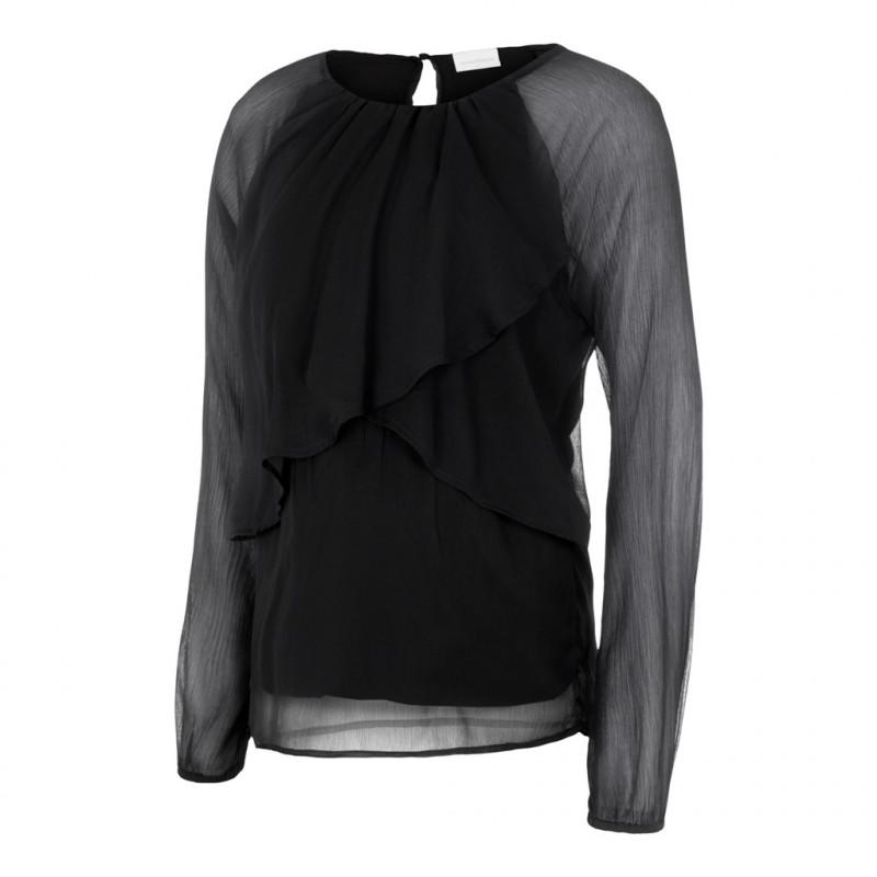Bluză cu mâneci lungi pentru femeile însărcinate și care alăptează, neagră  209509