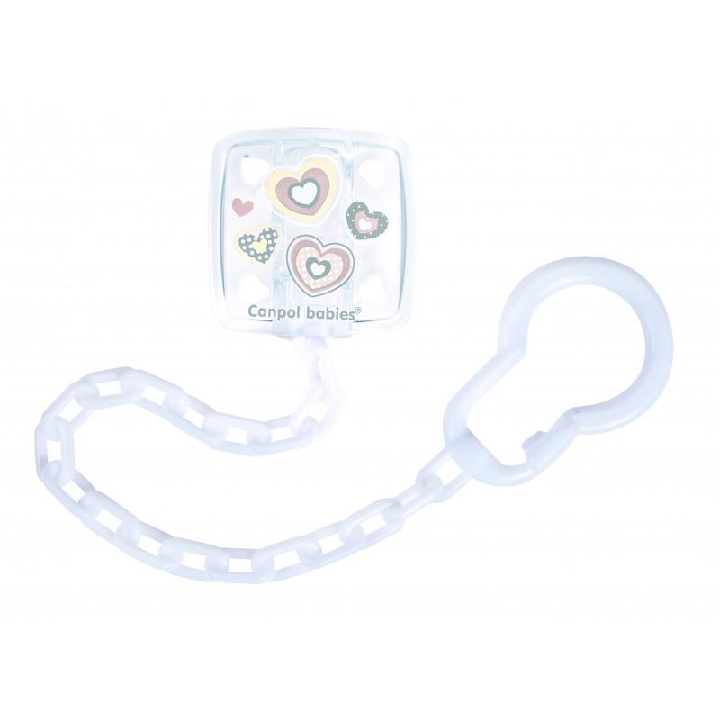 Clip suzetă cu lanț pentru nou-născut, alb  210934