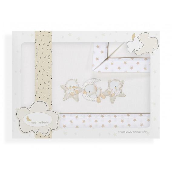 """Set lenjerie de pat pentru bebeluși """"Zoo"""" cu termometru Inter Baby 21098"""