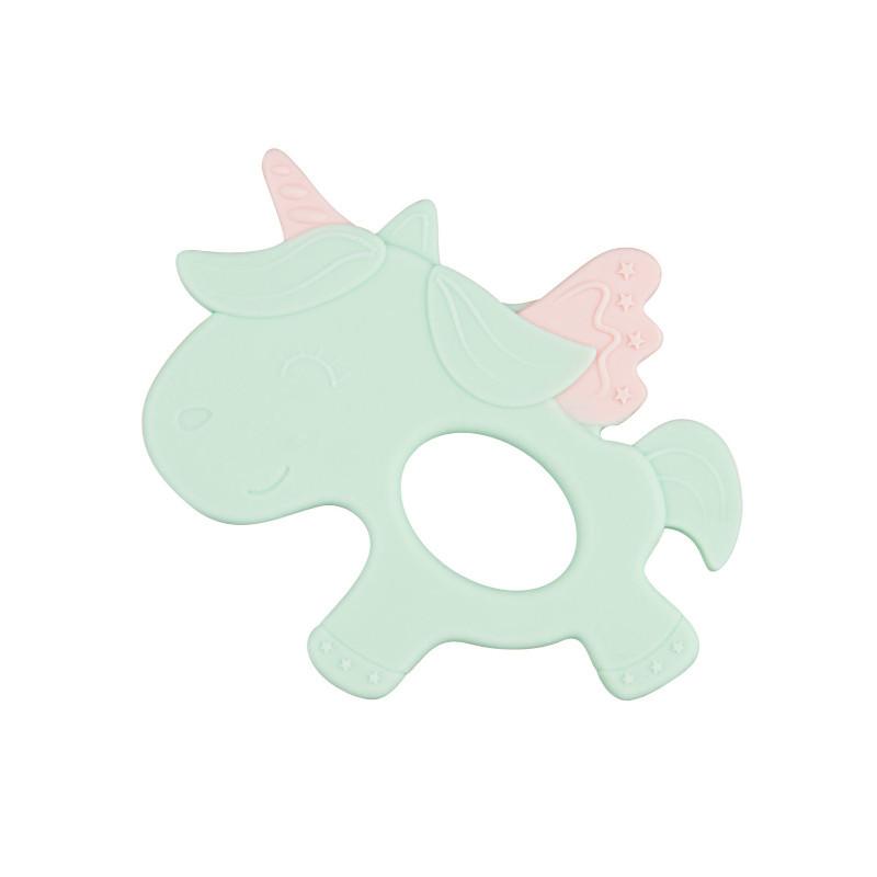 Jucărie dentiție din silicon, Unicorn, verde  211137