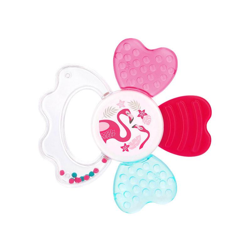 Zornăitoare și jucărie dentiție cu apă, roșie, Flamingo  211150