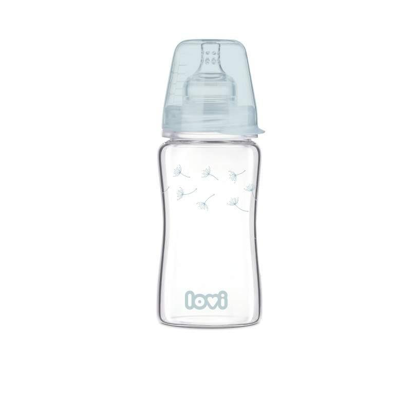 Flacon din sticlă borosilicată Diamond Glass cu tetină cu debit lent, 3+ luni, 250 ml., Albastră  211169