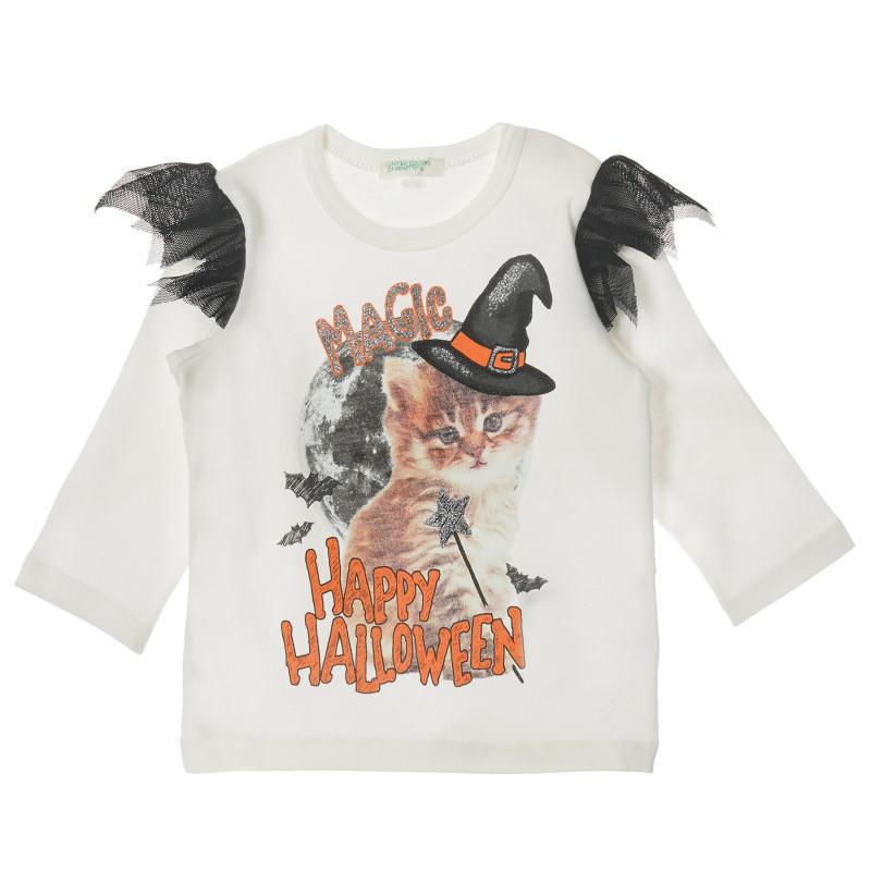 Bluză din bumbac cu mâneci lungi și imprimeu pentru bebeluși  211869