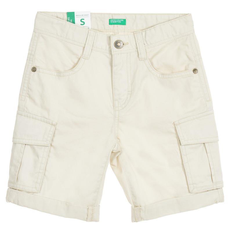 Pantaloni scurți din bumbac bej, cu buzunare laterale  211923