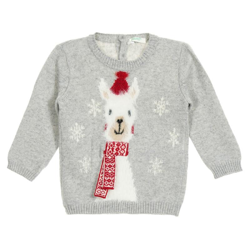 Pulover gri pentru copii, cu motive de Crăciun  212423