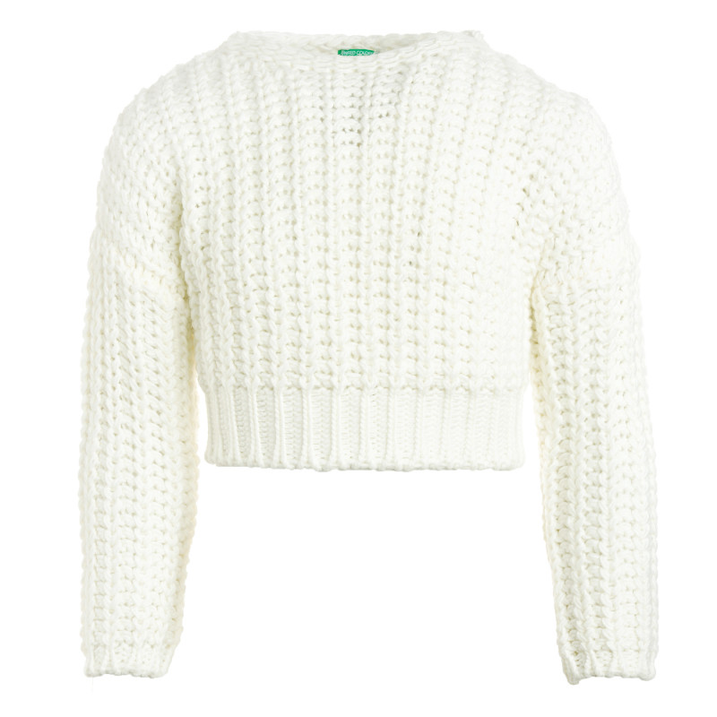 Pulover alb din tricot cu mâneci lungi  212477
