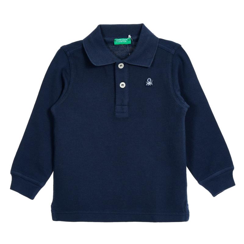 Bluză din bumbac albastru cu mâneci lungi și guler  212549