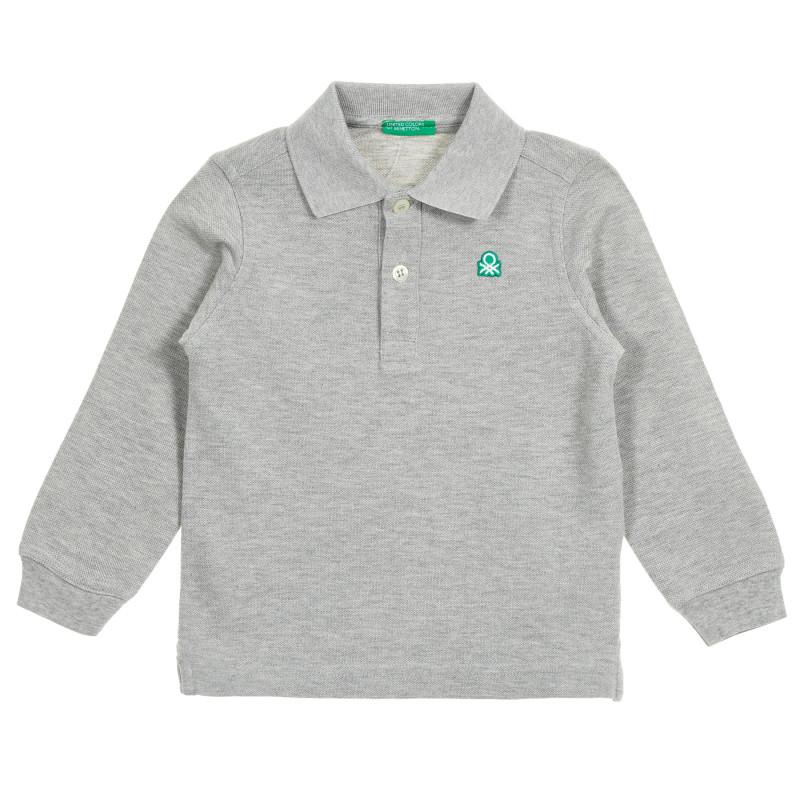 Bluză din bumbac gri, cu mâneci lungi și guler  212561