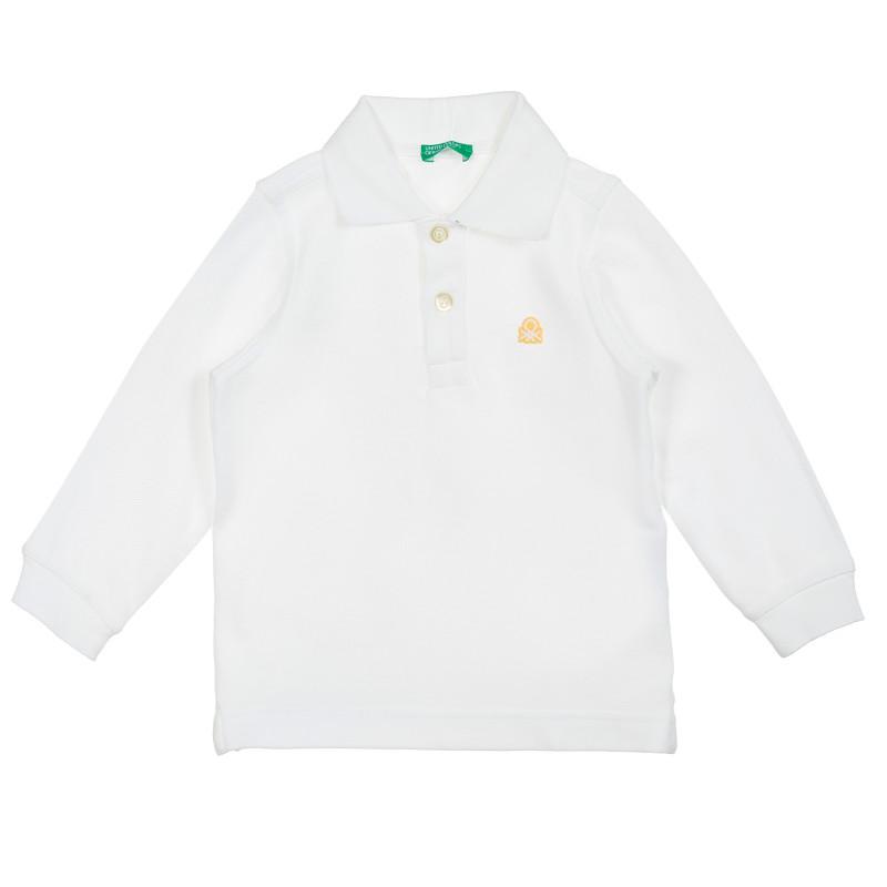 Bluză albă din bumbac cu mâneci lungi și guler  212565