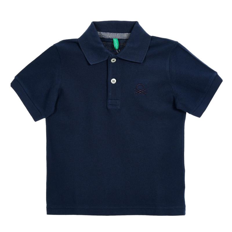 Bluză albastră cu mâneci scurte și sigla mărcii  212569