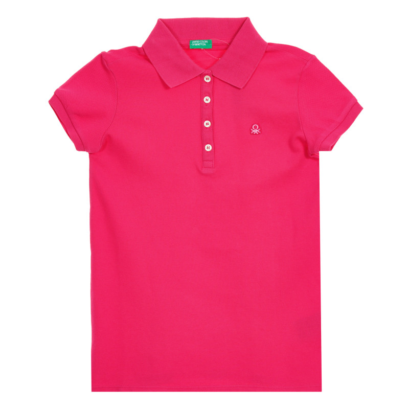 Bluză din bumbac roz cu mâneci scurte și logo-ul mărcii  212577