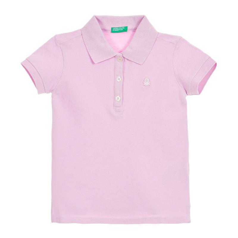 Bluză din bumbac violet cu mâneci scurte și logo-ul mărcii  212601