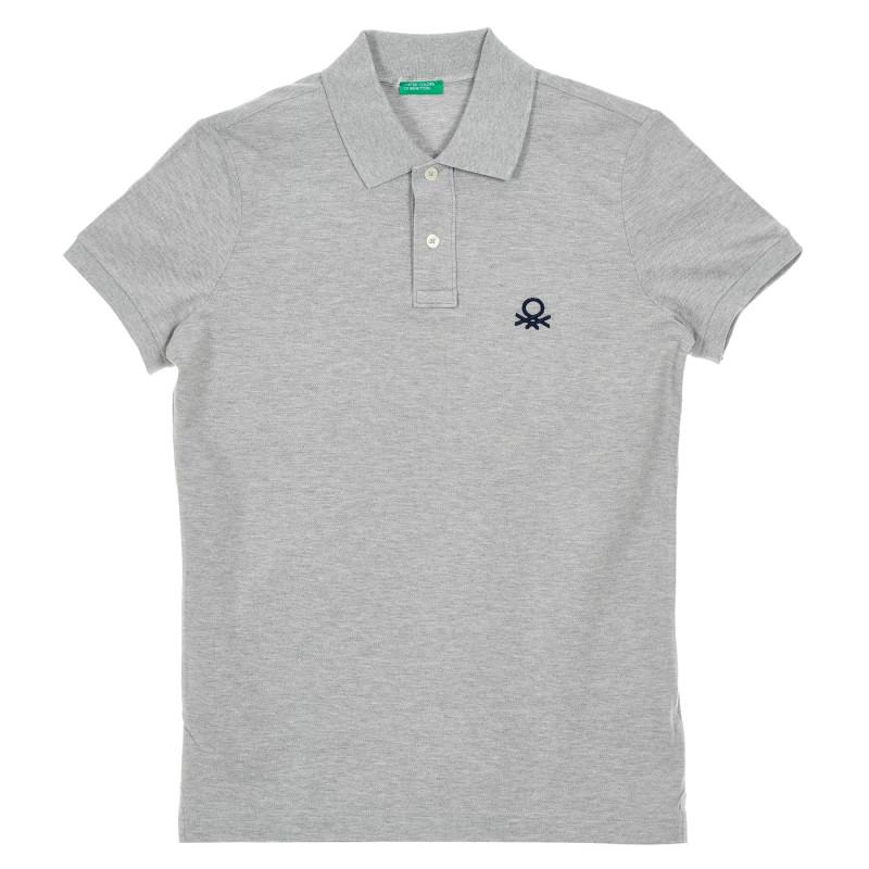Bluză gri cu mâneci scurte și guler  212609