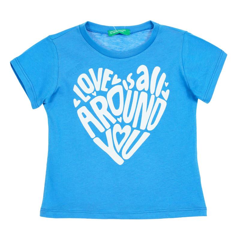 Tricou de bumbac pentru bebeluși cu inscripție, albastru  212653