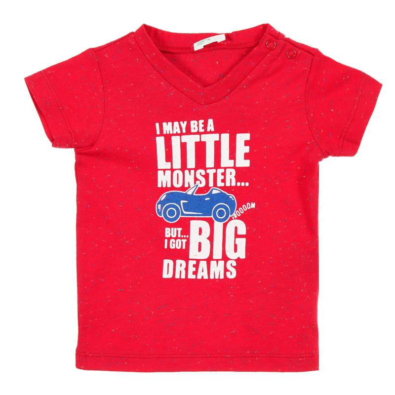 Tricou din bumbac roșu cu imprimeu stropit, pentru bebeluși  212984