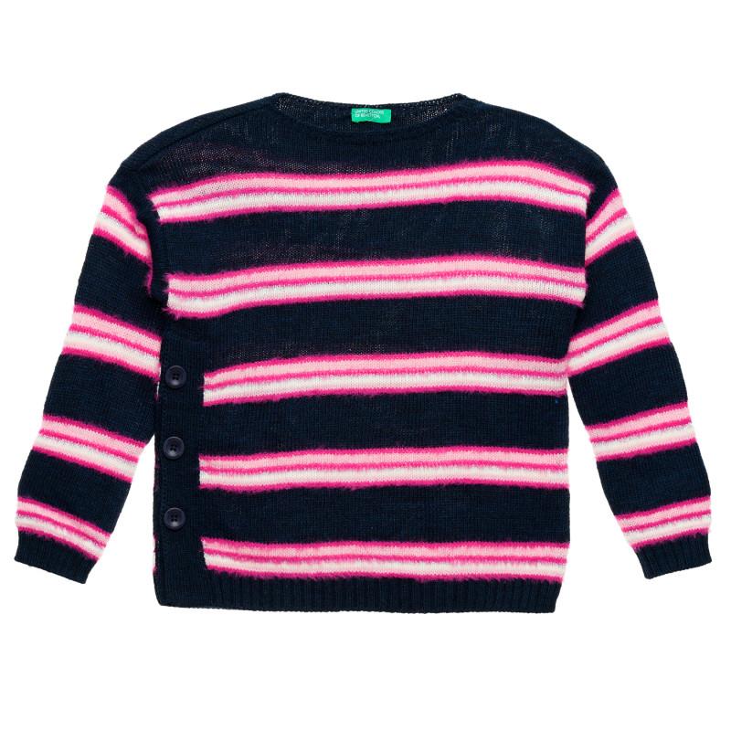 Pulover tricotat cu dungi roz, albastru închis  213043