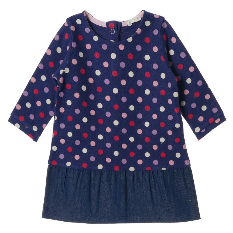 Rochie din bumbac albastru cu mâneci lungi și imprimeu, pentru fetițe  213139